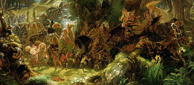 Nudes Painting - The Fairy Raid by Sir Joseph Noel Paton