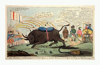 Raging Bull Drawing - The Faith Of Treaties Exemplified Or John Bulls Last Effort by English School