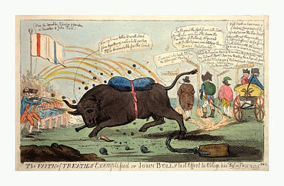 Raging Bull Drawing - The Faith Of Treaties Exemplified Or John Bulls Last Effort by Litz Collection