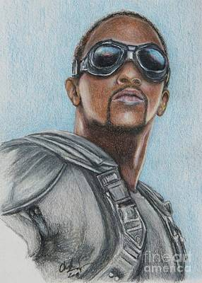Drawing - The Falcon / Anthony Mackie by Christine Jepsen