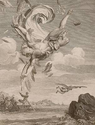 Fishing Drawing - The Fall Of Icarus, 1731 by Bernard Picart