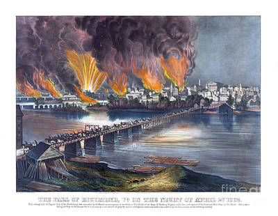Old Map Painting - The Fall Of Richmond Va On The Night Of April 2d - 1865 by Pablo Romero
