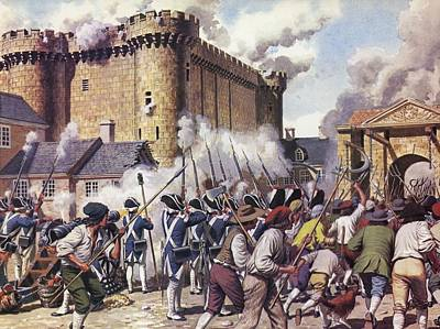 French Revolution Photograph - The Fall Of The Bastille Colour Litho by Mike White