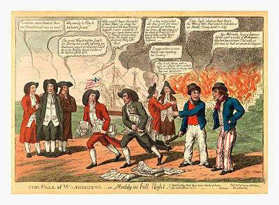 James Madison Drawing - The Fall Of Washington Or Maddy In Full Flight by English School