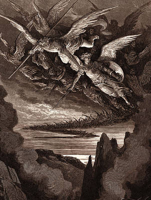 Fallen Angel Drawing - The Fallen Angels On The Wing by Litz Collection