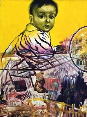 Sukkot Painting - The Falling Sukka by Nekoda  Singer