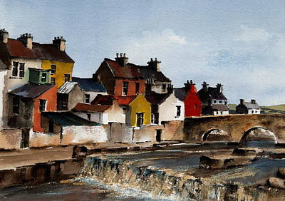 Connaught Painting - The Falls At Ennistymon  Clare by Val Byrne