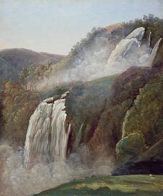 Mountain Drawing - The Falls At Terni by George Augustus Wallis