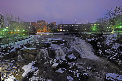 The Falls In Downtown Greenville Sc After A Light Snow Fall Art Print by Willie Harper