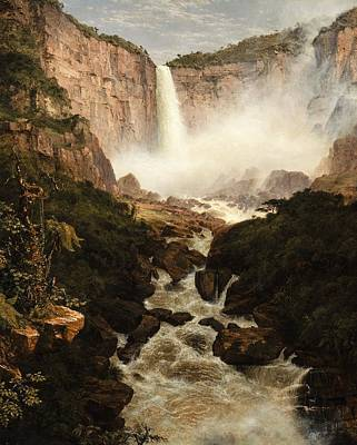 The Falls Of The Tequendama Near Bogota, New Granada Print by Frederic Edwin Church