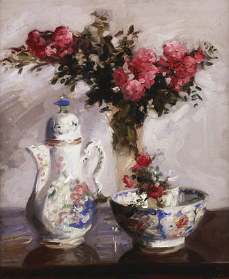 Cut Flowers Painting - The Famille Rose Coffee Pot by Francis Campbell Boileau Cadell