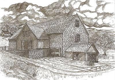 Old Barn Drawing - The Family Farm - Sepia Ink by Carol Wisniewski