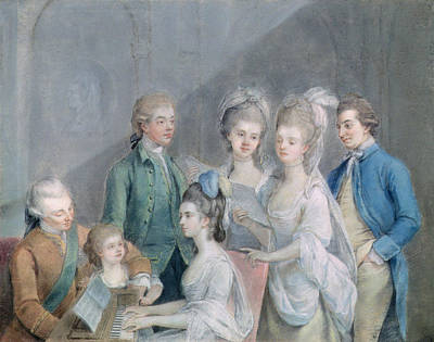 The Family Of Charles Schaw, 9th Baron Cathcart 1721-76 Pastel On Paper Art Print by Johann Zoffany
