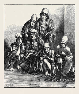 The Famine In Persia Group Of Poor People At Shiraz 1871 Art Print by English School