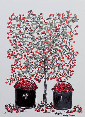 Drawing - The Famous Door County Cherry Tree by AndyJack Andropolis