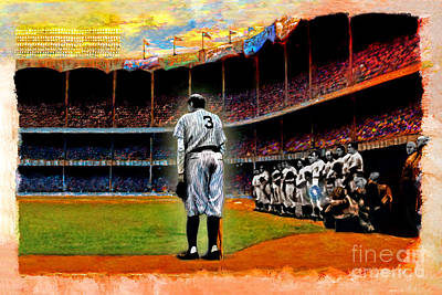 Babe Ruth Mixed Media - The Farewell by Alan Greene