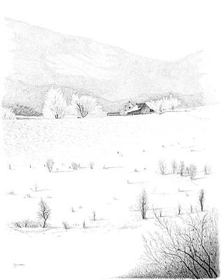 Pen And Ink Of Barn Drawing - The Farm by Carl Genovese
