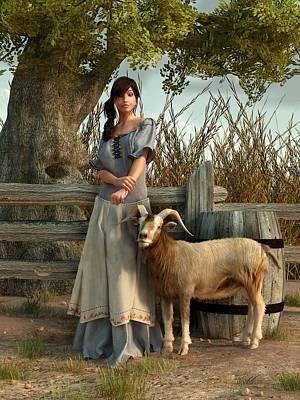 Goat Digital Art - The Farmer's Daughter by Daniel Eskridge