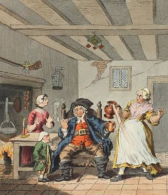 Interior Scene Drawing - The Farmers Return, Illustration by William Hogarth