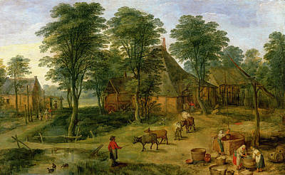 Fetch Painting - The Farmyard by Jan the Younger Brueghel