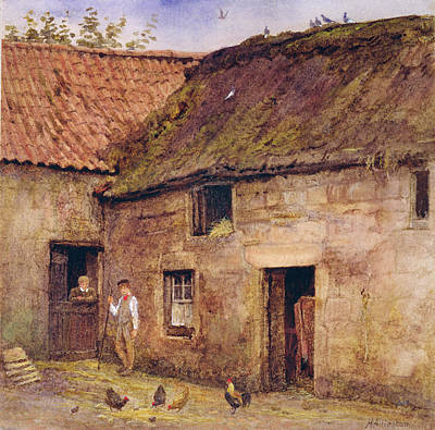 Outhouse Painting - The Farmyard by Helen Allingham
