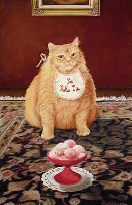 Fat Cat Wall Art - Painting - The Fat Cat Lives The Sweet Life by Barbara Groff