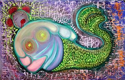 Monsters Painting - The Fat Mermaid by Laura Barbosa