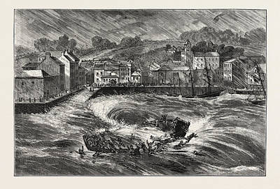 Boat Dock Drawing - The Fatal Ferry-boat Accident In Youghal Harbour by Irish School