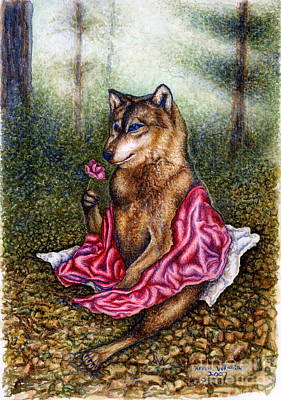 Red Riding Hood Series Painting - The Fate Of Little Red Riding Hood Part Three by Karen Wheeler