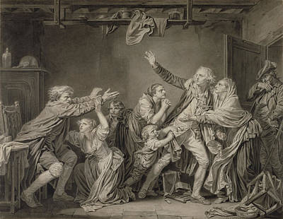 Wash Drawing - The Fathers Curse The Ungrateful Son Jean-baptiste Greuze by Litz Collection