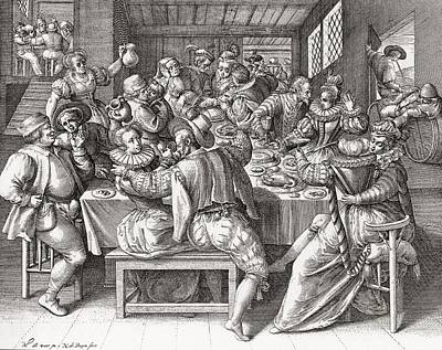 Enjoyment Photograph - The Feast, After A 17th Century Engraving By N. De Bruyn.  From Illustrierte Sittengeschichte Vom by Bridgeman Images