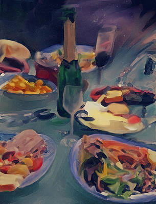 Table Wine Mixed Media - The Feast by Dennis Buckman
