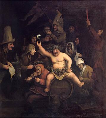 Barrel Painting - The Feast Of Bacchus, 1654 by Phillips de Koninck