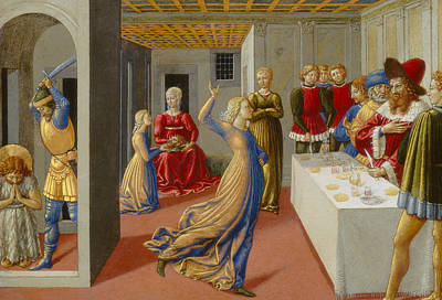 Baptist Painting - The Feast Of Herod And The Beheading Of Saint John The Baptist by Benozzo di Lese di Sandro Gozzoli