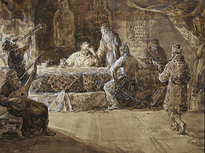 The Feast Of Prince Vladimir Art Print by Korobkin Anatoly