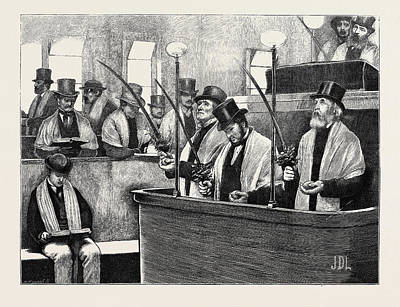 Synagogue Drawing - The Feast Of Tabernacles At The North London Synagogue by English School