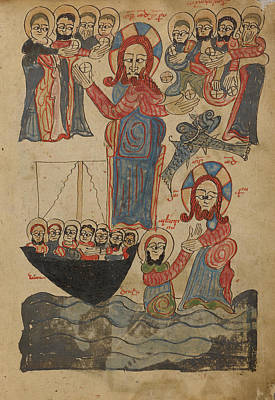 Jesus Drawing - The Feeding Of The Five Thousand,  Jesus Walking by Litz Collection