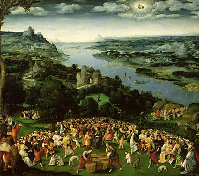 The Feeding Of The Five Thousand Oil On Panel Art Print by Joachim Patenier or Patinir