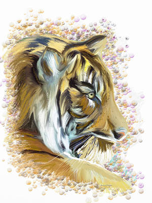 The Tiger Painting - The Feeling Of A Tiger Nearby by Angela A Stanton