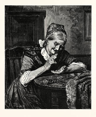 Pincher Drawing - The Female Miser by English School