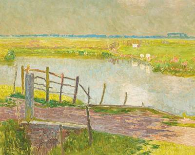 Belgium Photograph - The Fence May, The Lys, 1902 Oil On Canvas by Emile Claus