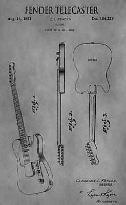 Telecaster Drawing - The Fender Telecaster by Dan Sproul
