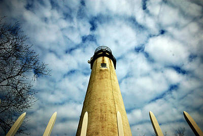The Fenwick Light And A Mackerel Sky Art Print
