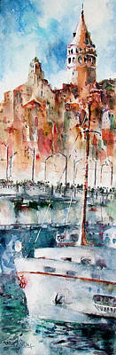 The Ferry Arrives At Galata Port - Istanbul Art Print by Faruk Koksal