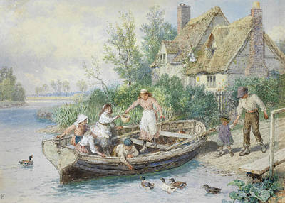 The Ferry Art Print by Myles Birket Foster