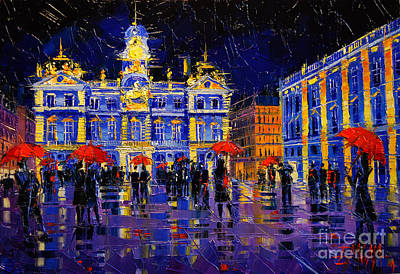 Streets Of France Painting - The Festival Of Lights In Lyon France by Mona Edulesco