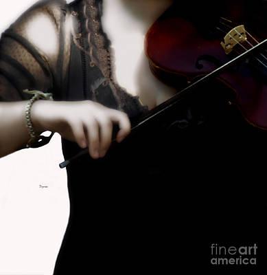 Violin Digital Art - The Fiddle Player In Violin Concerto A Minor Grunge by Steven  Digman