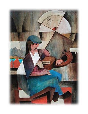 Painting - The Fiddle Player by Val Byrne