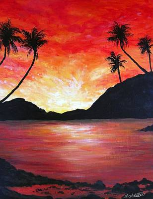 Sunrise Over Water Painting - The Fiery Lagoon by Amy Scholten