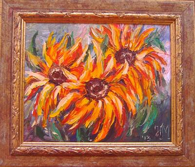 Painting - The Fiery Sunflowers by Nina Mitkova